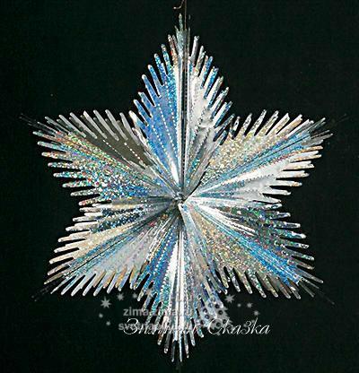 Снежинка из фольги на новый год своими