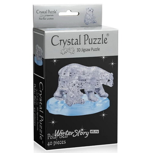 3D пазл Два белых медведя, 40 элементов Crystal Puzzle