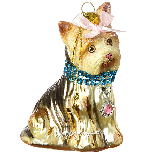 Елочная игрушка стеклянная собака
