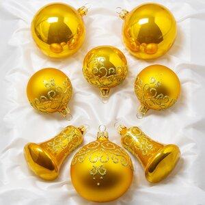 набор стеклянных елочных игрушек грация золотой 8 шт подвеска